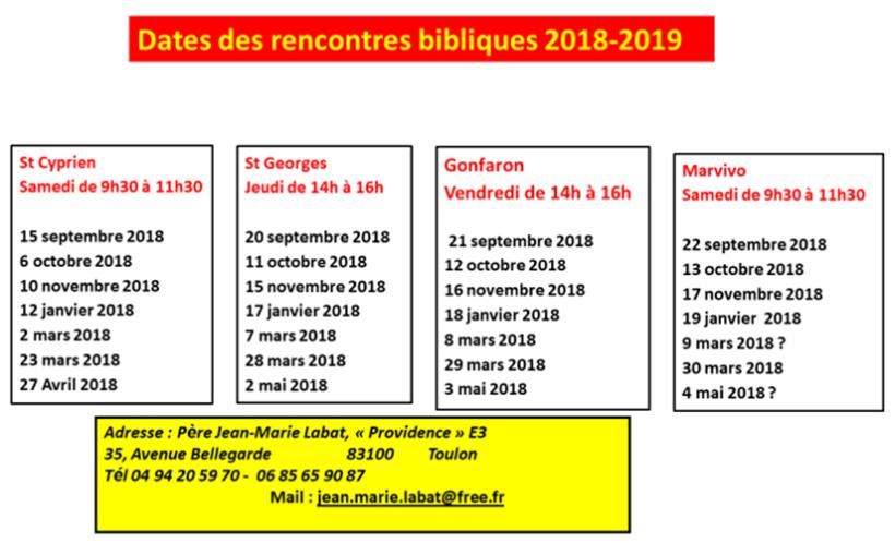 Dates des rencontres bibliques 2018-2019 - Père Labat
