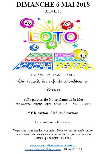 2018-05-02 Affiche du loto Sauvegarde des enfants colombiens